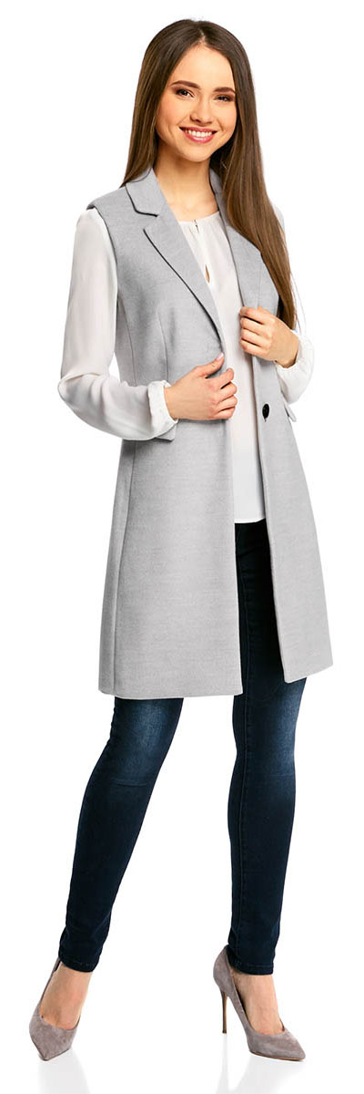 цены Жилет женский oodji Ultra, цвет: светло-серый меланж. 12300105/46445/2000M. Размер 42-170 (48-170)