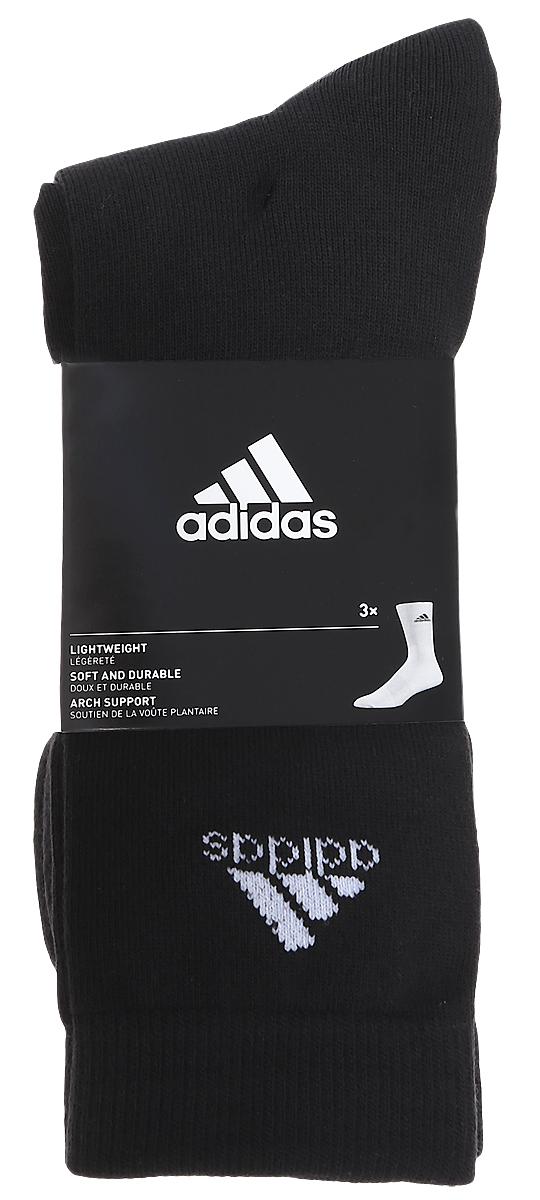 Носки adidas Per Crew T, цвет: черный, 3 пары. AA2330. Размер 39/42AA2330Носки adidas Per Crew T изготовлены из высококачественного мягкого эластичного хлопка с добавлением полиэстера и полиамида. Удлиненные носки с поддержкой стопы имеют эластичную резинку, которая надежно фиксирует носки на ноге. В комплект входят 3 пары носков, оформленных логотипом бренда adidas.