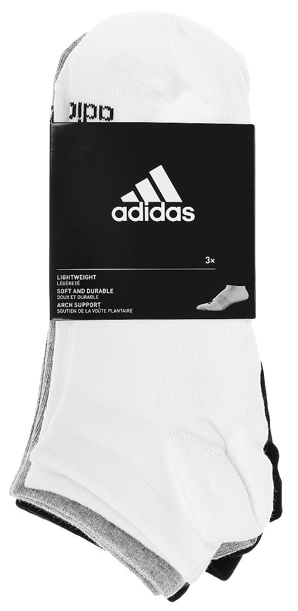 Носки adidas Per No-Sh T, цвет: черный, белый, серый, 3 пары. AA2313. Размер 35/38AA2313Носки adidas Per No-Sh T изготовлены из высококачественного эластичного хлопка с добавлением полиэстера. Укороченныеноски с поддержкой стопы имеют эластичную резинку, которая надежно фиксирует носки на ноге. В комплект входят 3 пары носков, оформленных логотипом бренда adidas.