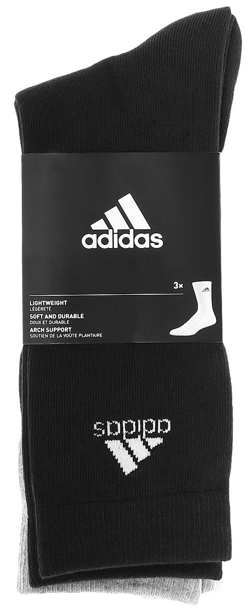 Носки adidas Per Crew T, цвет: черный, серый, белый, 3 пары. AA2331. Размер 39/42AA2331Носки adidas Per Crew T изготовлены из высококачественного мягкого эластичного хлопка с добавлением полиэстера и полиамида. Удлиненные носки с поддержкой стопы имеют эластичную резинку, которая надежно фиксирует носки на ноге. В комплект входят 3 пары носков, оформленных логотипом бренда adidas.
