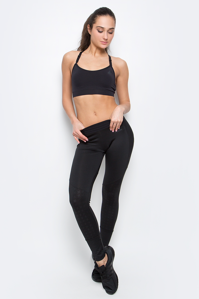 Топ-бра для фитнеса adidas Seamless Bra, цвет: черный. AJ5070. Размер M (46/48) топы бра adidas топ бра sn x bra 3
