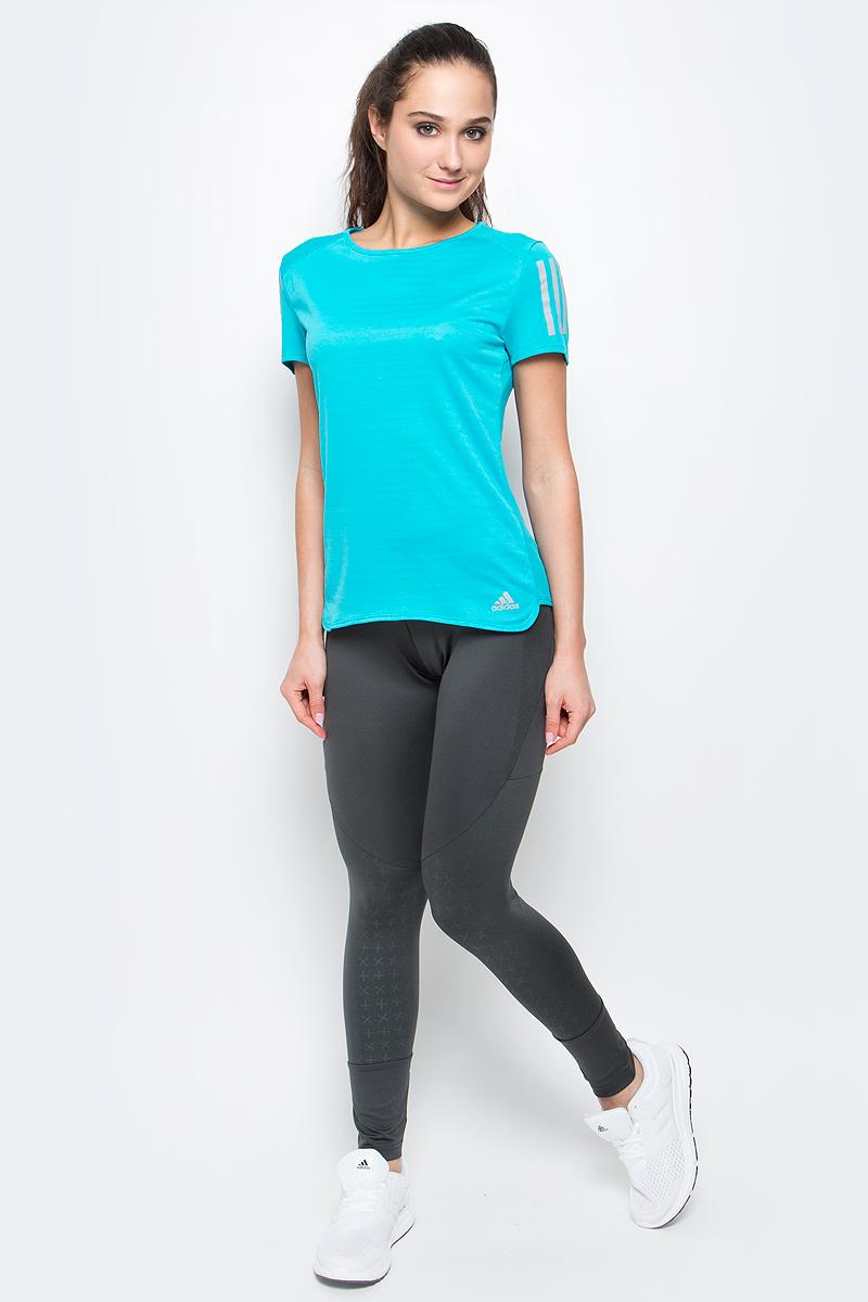 Футболка для бега женская adidas Rs Ss Tee W, цвет: бирюзовый. BP7457. Размер XL (52/54)BP7457Женская футболка Rs ss tee w от adidas подойдет для самых интенсивных тренировок. У модели круглый вырез горловины и стандартные короткие рукава. Технология climalite обеспечивает интенсивное влагоотведение с поверхности тела.