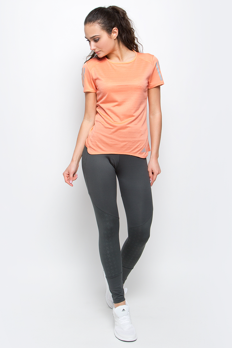 Футболка для бега женская adidas Rs Ss Tee W, цвет: персиковый. BP7455. Размер XL (52/54)BP7455Женская футболка Rs ss tee w от adidas подойдет для самых интенсивных тренировок. У модели круглый вырез горловины и стандартные короткие рукава. Технология climalite обеспечивает интенсивное влагоотведение с поверхности тела.