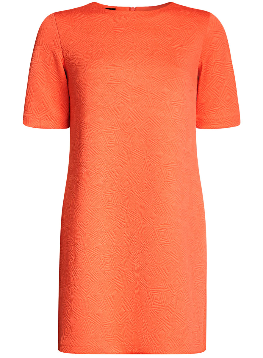 Платье oodji Collection, цвет: оранжевый. 24001110-4/46432/5500N. Размер L (48-170)24001110-4/46432/5500NЛаконичное платье прямого силуэта oodji Collection выполнено из мягкой фактурной ткани. Модель мини-длины с круглым вырезом горловины и короткими рукавамизастегивается на скрытую молнию на спинке.