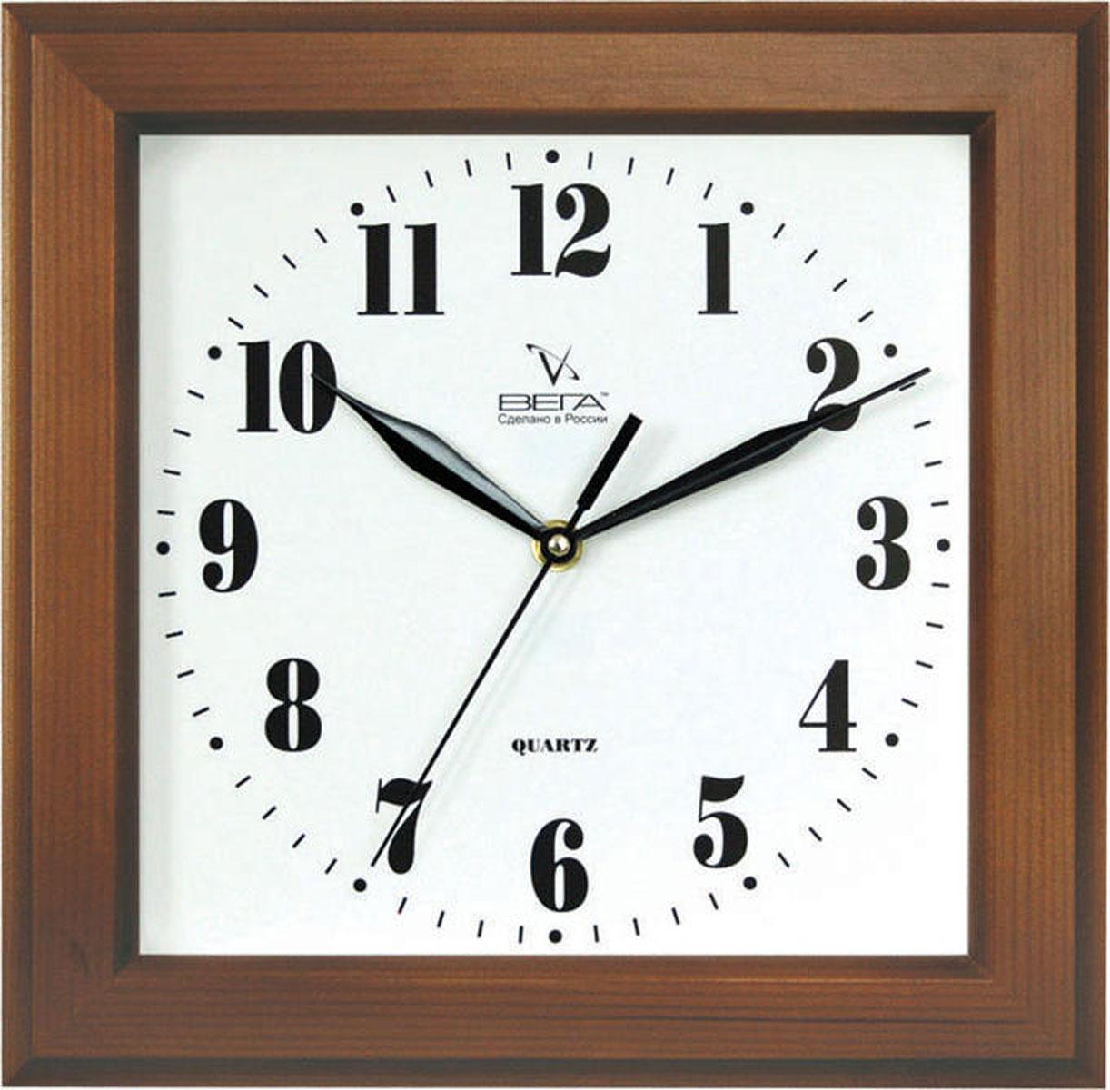 Часы настенные Вега Классика. Д4Д/7-26Д4Д/7-26Оригинальные настенные часы квадратной формы Вега Классика выполнены из дерева и пластика. Часы имеют три стрелки - часовую, минутную и секундную. Необычное дизайнерское решение и качество исполнения придутся по вкусу каждому. Оформите свой дом таким интерьерным аксессуаром или преподнесите его в качестве презента друзьям, и они оценят ваш оригинальный вкус и неординарность подарка. Часы работают от 1 батарейки типа АА напряжением 1,5 В (в комплект не входит). Уважаемые клиенты! Обращаем ваше внимание на незначительные изменения в оттенке товара. Качественные характеристики товара остаются неизменными. Поставка осуществляется в зависимости от наличия на складе.