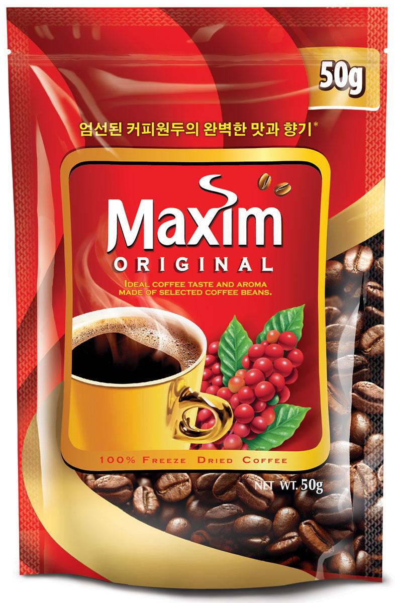 Maxim кофе натуральный растворимый сублимированный, 50 г4251200Maxim – это сублимированный кофе высокого качества по доступной цене. Это бренд №2 в Сибири и на Дальнем Востоке. Ведет свою историю с 1971 года.Представлен двумя вкусами – Original и Mild. Maxim Original - это идеально сбалансированный вкус и притягательный аромат, приготовлен из отборных кофейных зёрен.