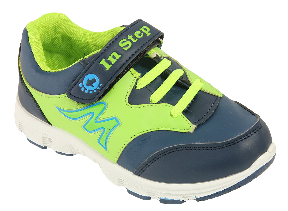 Кроссовки для мальчика In Step, цвет: синий, лайм. B002. Размер 35B002Детские кроссовки от In Step выполнены из искусственной кожи. Ремешок с застежкой-липучкой и эластичная шнуровка гарантируют надежную фиксацию обуви на ноге. Внутренняя поверхность и стелька из текстиля комфортны при движении. Рельефная подошва изготовлена из полимера.