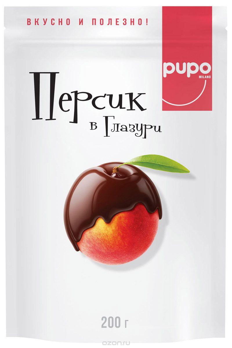 Pupo конфеты Персик в шоколадной глазури, 200 г lorado персики половинки в легком сиропе 850 мл