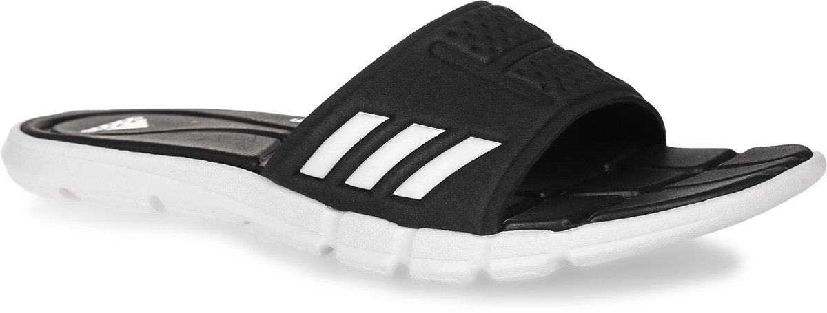Шлепанцы женские adidas Adipure Cf, цвет: черный, белый. BB4558. Размер 8 (40,5)BB4558Женские шлепанцы adidas Adipure Cf выполнены из вспененного полимера и оформлены фирменным тиснением. Подкладка выполнена из мягкого текстиля, комфортного при движении. Подошва и стелька оснащены технологией Cloudfoam для поглощения ударных нагрузок и комфортной посадки без разнашивания. Поверхность подошвы дополнена рельефным рисунком.