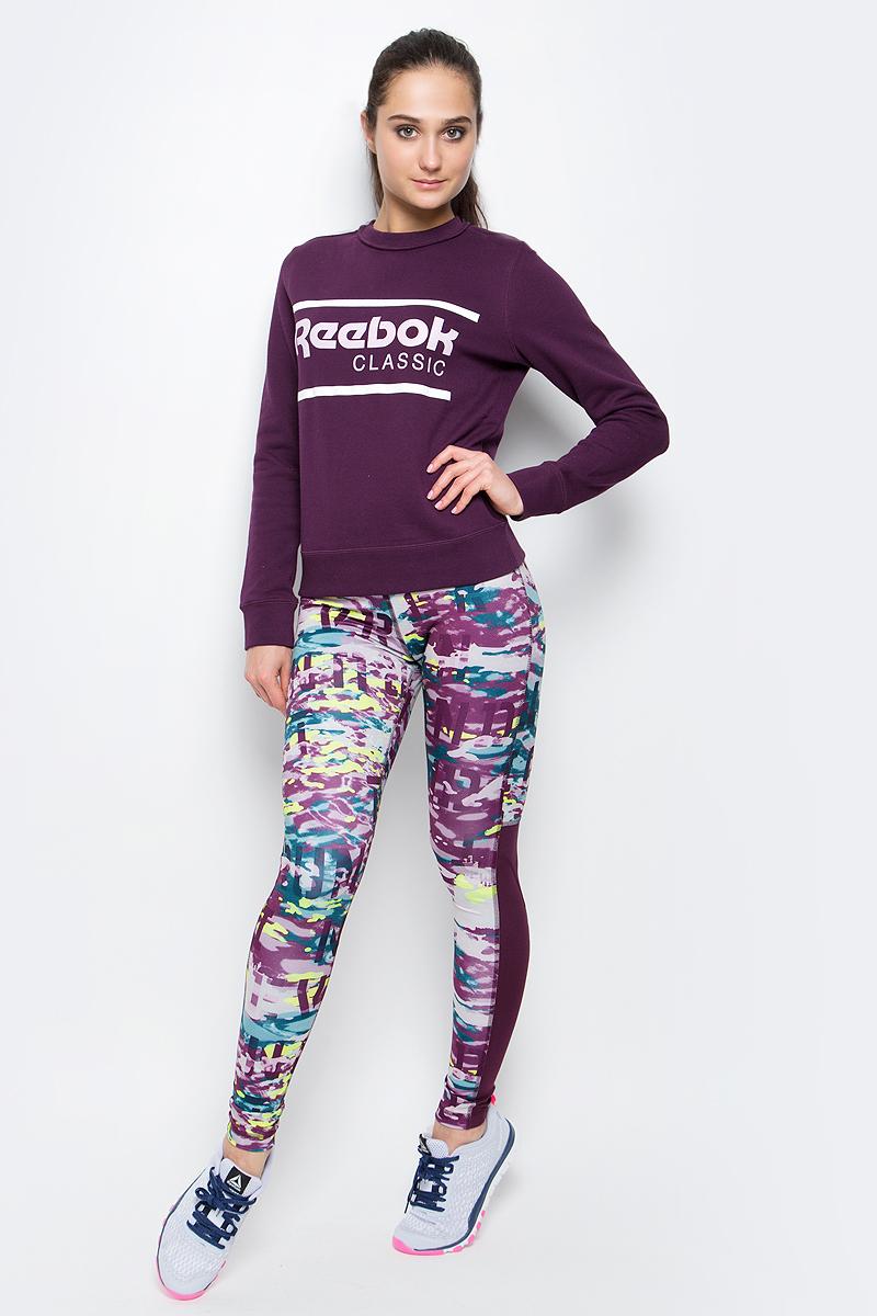 Свитшот женский Reebok F Iconic Crew Sweat, цвет: сливовый. BK2410. Размер M (46/48) свитшот женский adidas crew sweater цвет черный bj8291 размер 40 46 48