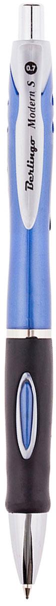 Berlingo Ручка шариковая Modern S синяяCBm_70292Автоматическая ручка Berlingo Modern S с пластиковым клипом и мягким резиновым грипом для комфортного письма. Диаметр пишущего узла - 0,7 мм. Цвет чернил - синий.