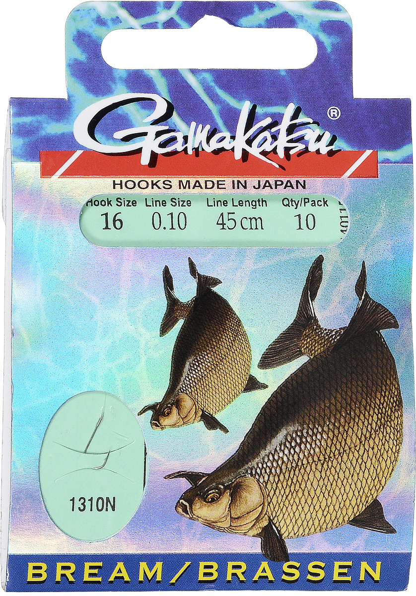 Крючок с поводком Gamakatsu BKS-1310N, длина поводка 45 см, толщина поводка 0,1 мм, размер крючка 16, 10 шт крючок gamakatsu bks 3510f carp 60см 2 d поводка 030 10шт