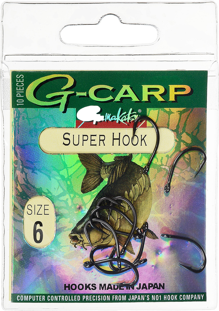 Крючок рыболовный Gamakatsu G-Carp. Super Hook, №6, 10 шт крючок gamakatsu bks 3510f carp 60см 2 d поводка 030 10шт