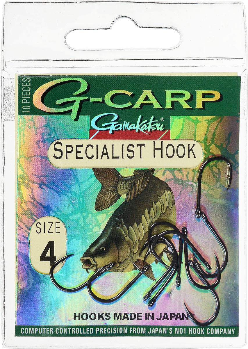 Крючок рыболовный Gamakatsu G-Carp. Specialist Hook, №4, 10 шт14682800400Gamakatsu G-Carp. Specialist Hook - карповый крючок с жалом с углублением, кованым прочным толстым цевьем, круглым ушком и крючком-джигом.На сегодняшний день рыболовные крючки Gamakatsu являются лучшими по качеству в Японии и Европе. Все крючки выполняются из очень прочной стальной проволоки. Жала крючков имеют химическую заточку. Вид крепления: ушко.Размер крючка: №4.