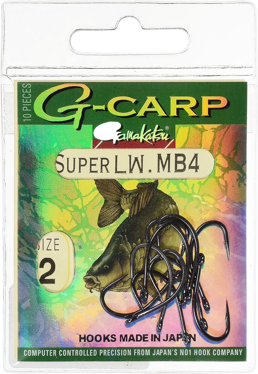 Крючок рыболовный Gamakatsu G-Carp Super LW MB4, размер 2, 10 шт крючок gamakatsu bks 3510f carp 60см 2 d поводка 030 10шт