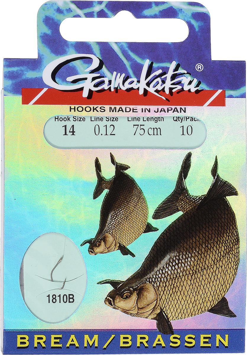 Крючок с поводком Gamakatsu BKS-1810B, длина поводка 75 см, толщина поводка 0,12 мм, размер крючка 14, 10 шт1401140140000012Крючок с поводком Gamakatsu BKS-1810B - это прекрасный выбор для рыболовов. Изделие идеально подходит для ловли леща. Крючок изготовлен из высококачественной стали. Поводок выполнен из прочной лески, к которой привязан крючок. Изделия упакованы в удобный картонный конверт. Размер крючка: 14.Вид головки крючка: лопатка. Толщина лески: 0,12 мм. Длина поводка: 75 см. Количество: 10 шт.