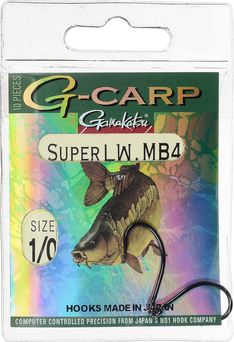 Крючок Gamakatsu G-Carp Super LW MB4, № 1/0, 10шт крючок gamakatsu bks 3510f carp 60см 2 d поводка 030 10шт
