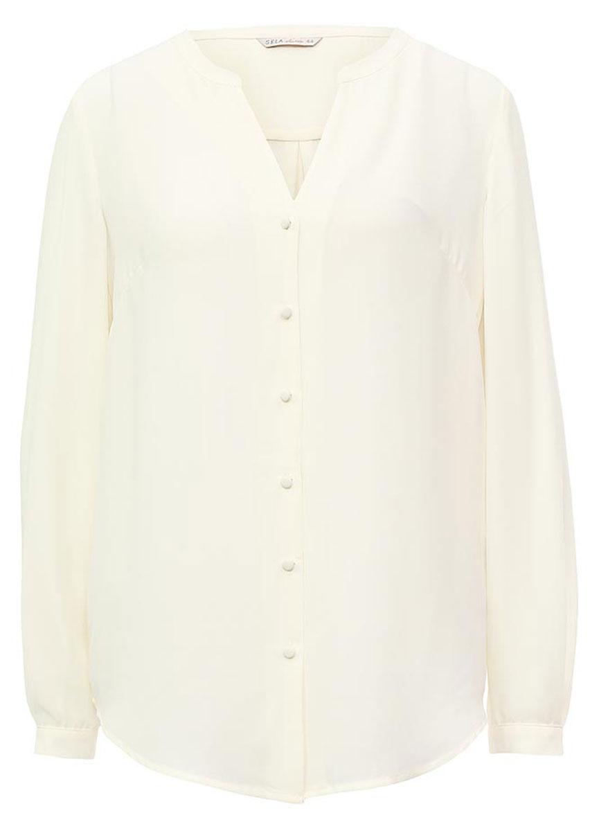Блузка женская Sela, цвет: молочный. B-112/1168-7131. Размер 46B-112/1168-7131Оригинальная женская блузка Sela выполнена из воздушного материала. Модель прямого кроя с V-образным вырезом горловины и длинными рукавами застегивается на пуговицы. Манжеты рукавов также дополнены пуговицами. Блузка подойдет для офиса, прогулок и дружеских встреч и будет отлично сочетаться с джинсами и брюками, и гармонично смотреться с юбками. Мягкая ткань комфортна и приятна на ощупь.
