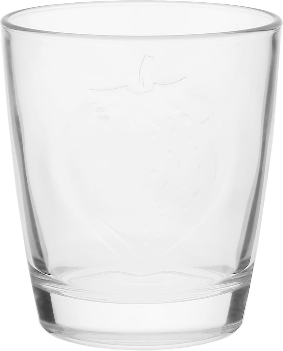 """Стакан Luminarc """"Фрути Энерджи. Клубника"""" изготовлен из высококачественного стекла. Такой стакан прекрасно подойдет для горячих и холодных напитков. Он дополнит коллекцию вашей кухонной посуды и будет служить долгие годы.  Можно использовать в посудомоечной машине и СВЧ.  Диаметр стакана (по верхнему краю): 7,5 см.  Высота: 8,7 см."""