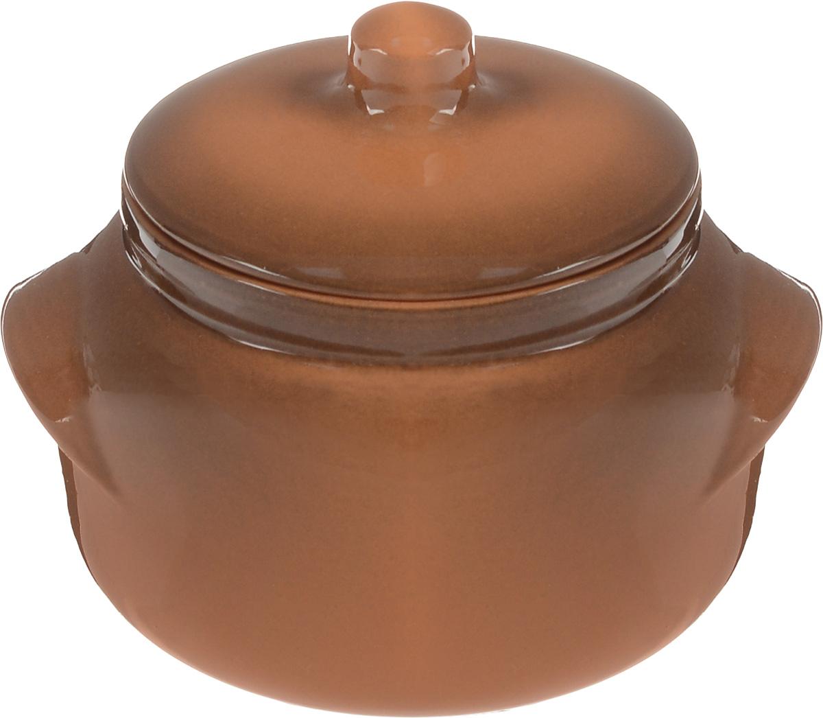 Горшок для запекания Борисовская керамика Новарусса, цвет: коричневый, 500 млОБЧ00000905Горшок для запекания Борисовская керамика Новарусса с крышкой выполнен из высококачественной керамики. Уникальные свойства красной глины и толстые стенки изделия обеспечивают эффект русской печи при приготовлении блюд. Блюда, приготовленные в керамическом горшке, получаются нежными и сочными. Вы сможете приготовить мясо, сделать томленые овощи и все это без капли масла. Это один из самых здоровых способов приготовления пищи. Можно использовать в духовке и микроволновой печи. Диаметр горшка (по верхнему краю): 10 см.Высота стенок: 8 см. Объем: 500 мл.