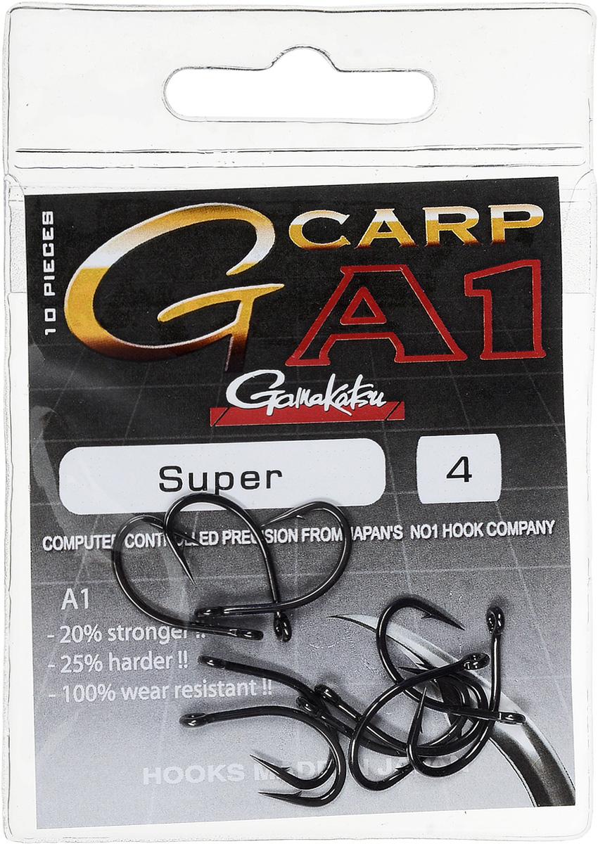 Крючок рыболовный Gamakatsu A1 G-Carp Super, размер 4, 10 шт крючок gamakatsu bks 3510f carp 60см 2 d поводка 030 10шт