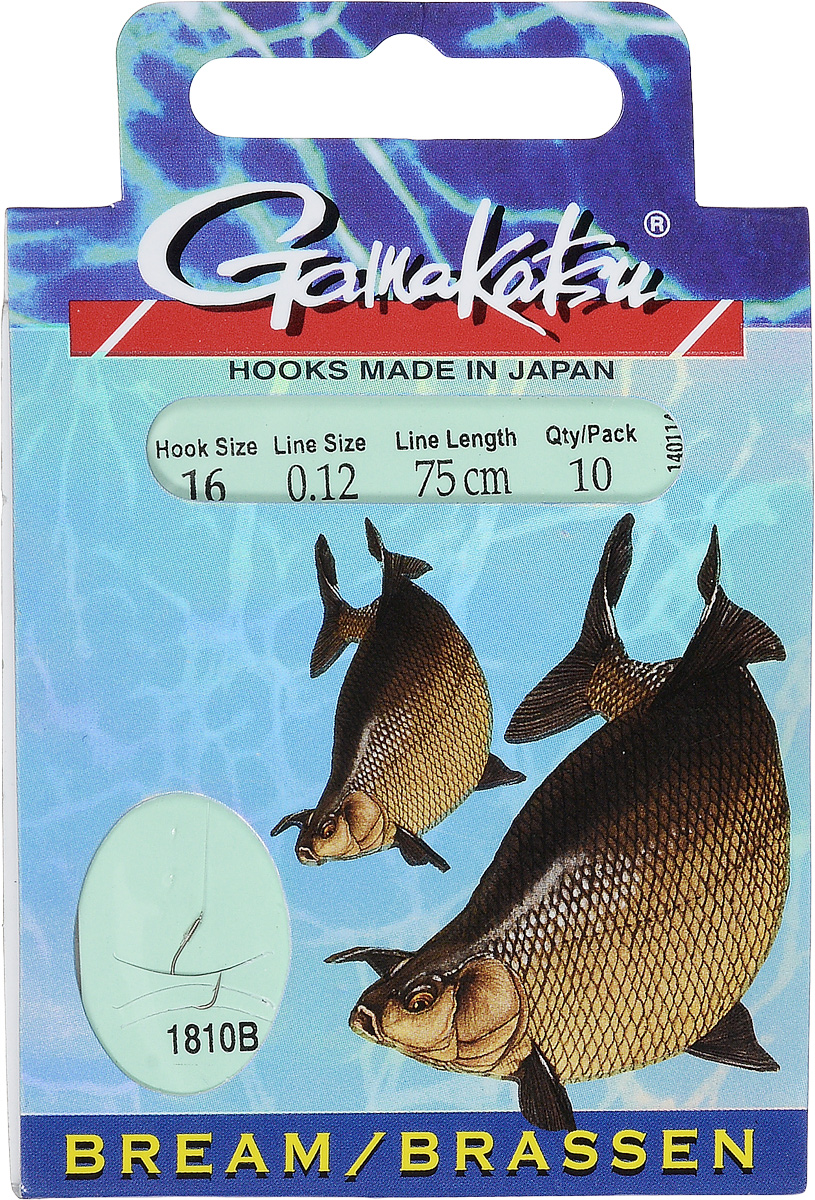 Крючок с поводком Gamakatsu BKS-1810B, длина поводка 75 см, толщина поводка 0,12 мм, размер крючка 16, 10 шт крючок gamakatsu bks 3510f carp 60см 2 d поводка 030 10шт