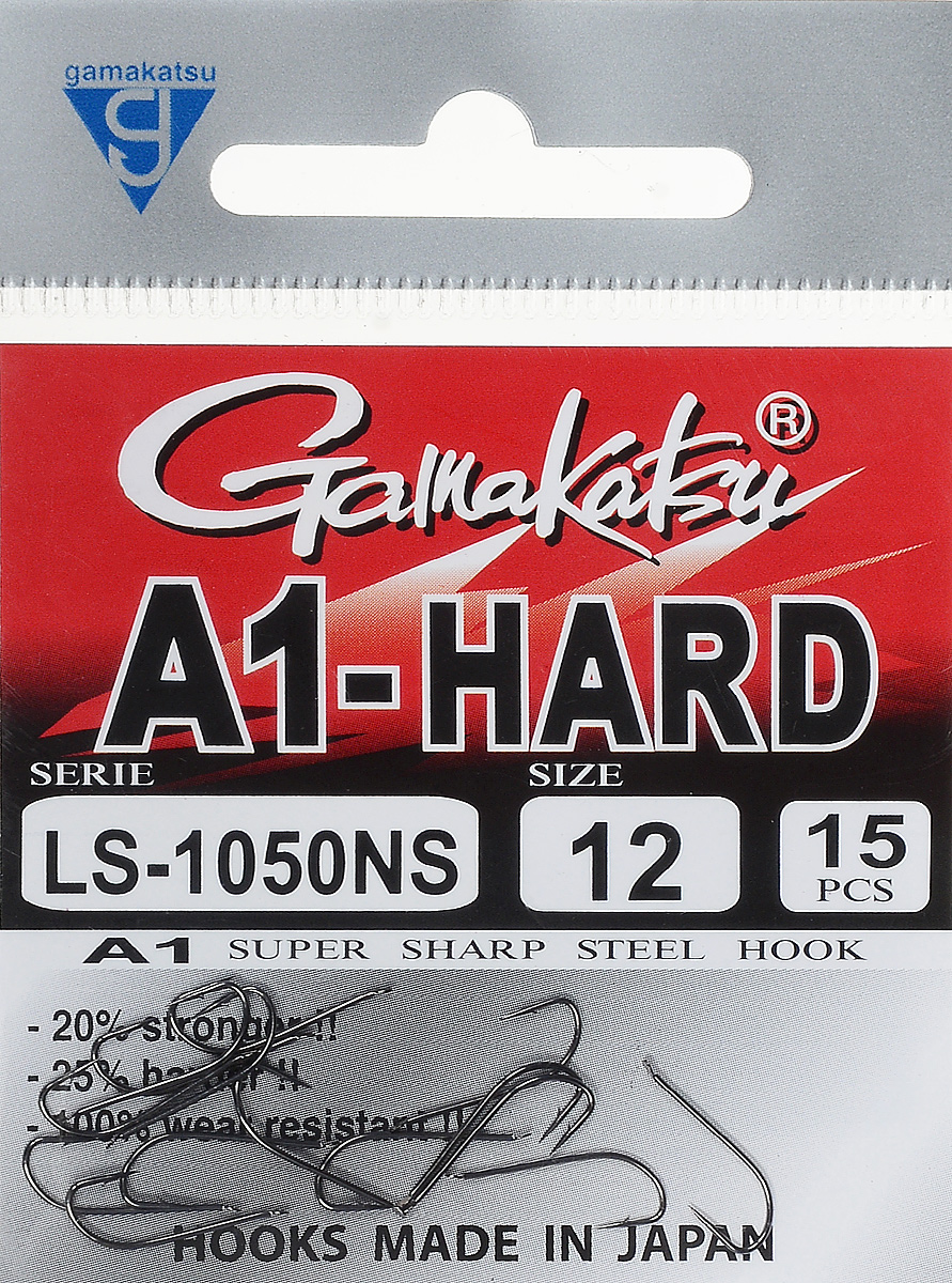 Крючок рыболовный Gamakatsu A1 LS-1050NS, размер 12, 15 шт14764501200Крючок Gamakatsu A1 LS-1050NS подходит для ловли рыбы. Изделие изготовлено из высококачественной стали. Крючок долго остается острым. Жало крючка отогнуто в бок. Крючок достаточно универсален и может применяться в разных видах ловли. Подходит для растительных и животных насадок. Крючок прекрасно справляется с любой рыбой как на море, так и на спокойной воде. Размер: 12.Количество: 15 шт. Вид головки: лопатка.