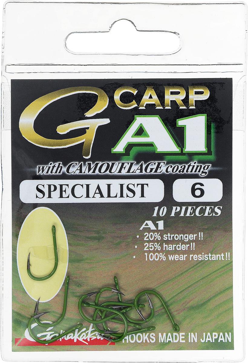 Крючок рыболовный Gamakatsu A1 G-Carp Camougreen Specialist, размер 6, 10 шт