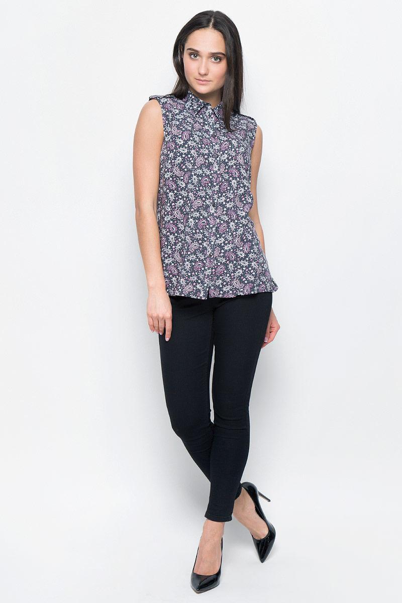 Блузка женская Finn Flare, цвет: темно-серый, розовый, белый. B17-12092. Размер L (48) блузка женская finn flare цвет лиловый синий бежевый s16 14085 814 размер m l 46 48