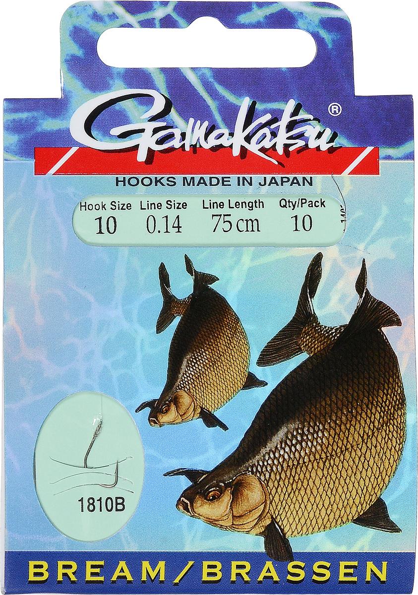 Крючок с поводком Gamakatsu BKS-1810B, длина поводка 75 см, толщина поводка 0,14 мм, размер крючка 10, 10 шт1401140100000014Крючок с поводком Gamakatsu BKS-1810B - это прекрасный выбор для рыболовов. Изделие идеально подходит для ловли леща. Крючок изготовлен из высококачественной стали. Поводок выполнен из прочной лески, к которой привязан крючок. Изделия упакованы в удобный картонный конверт. Размер крючка: 10.Вид головки крючка: лопатка. Толщина лески: 0,14 мм. Длина поводка: 75 см. Количество: 10 шт.