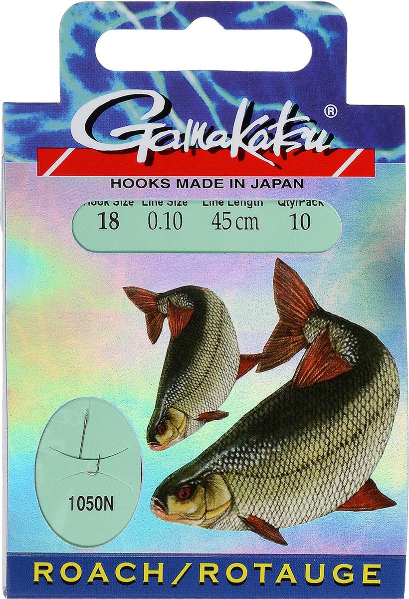 Крючок с поводком Gamakatsu BKS-1050N, длина поводка 45 см, толщина поводка 0,1 мм, размер крючка 18, 10 шт крючок gamakatsu bks 3510f carp 60см 2 d поводка 030 10шт