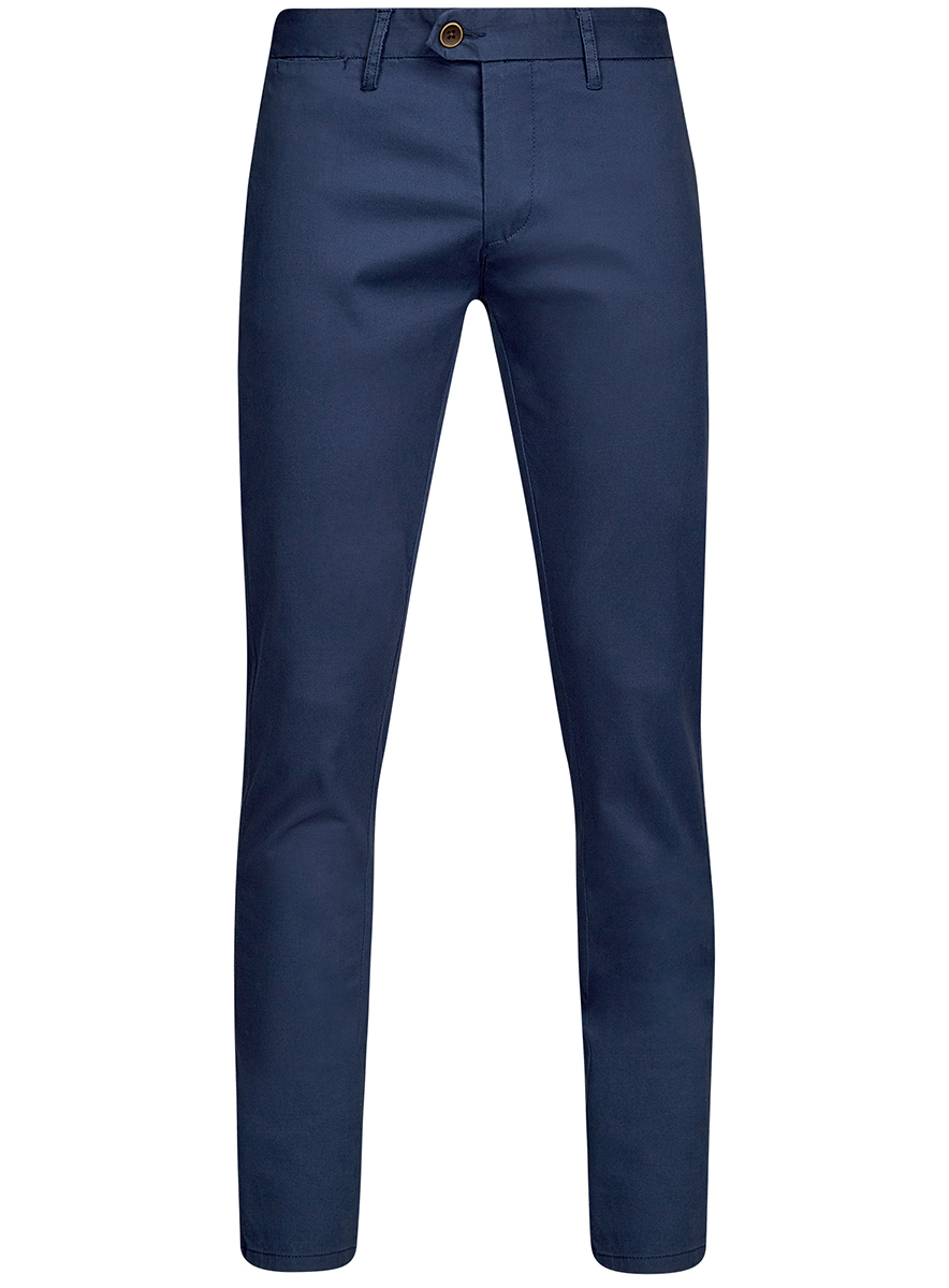 Брюки мужские oodji Basic, цвет: синий. 2B150024M/19302N/7500N. Размер 48-182 (56-182)2B150024M/19302N/7500NМужские брюки oodji Basic выполнены из высококачественного материала. Модель-чинос стандартной посадки застегивается на пуговицу в поясе и ширинку на застежке-молнии. Пояс имеет шлевки для ремня. Спереди брюки дополнены втачными карманами, сзади - прорезными.