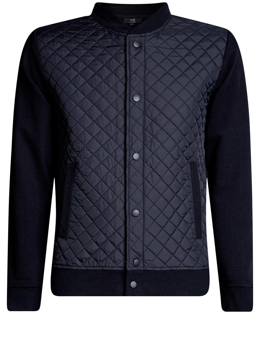 Куртка мужская oodji Basic, цвет: темно-синий. 5B911020M/44112N/7900N. Размер L (52/54)5B911020M/44112N/7900NМужская куртка oodji Basic выполнена из высококачественного материала. Модель застегивается на застежку-молнию и дополнительно ветрозащитным клапаном на кнопки. Спереди расположено два прорезных кармана.