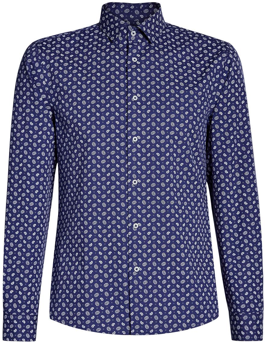 Рубашка мужская oodji Lab, цвет: темно-синий, белый. 3L310141M/46212N/7910E. Размер M-182 (50-182)3L310141M/46212N/7910EМужская рубашка от oodji выполнена из натурального хлопка. Модель приталенного кроя с длинными рукавами застегивается на пуговицы.