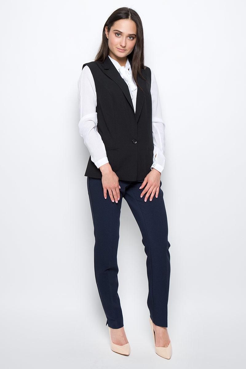 куртка женская finn flare цвет светло серый b17 12018 210 размер l 48 Жилет женский Finn Flare, цвет: черный. B17-11029. Размер L (48)
