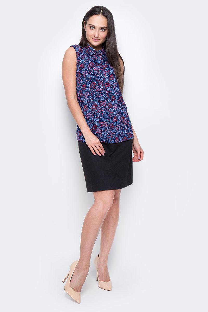 Блузка женская Finn Flare, цвет: темно-синий, красный, голубой. B17-12092. Размер L (48) блузка женская finn flare цвет лиловый синий бежевый s16 14085 814 размер m l 46 48