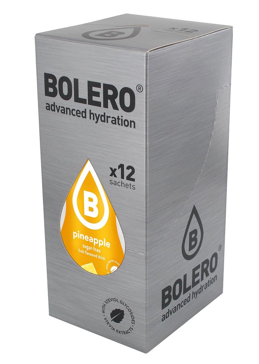 Напиток быстрорастворимый Bolero Pineapple / Ананас, 9 г х 12 штЦБ-00003127Быстрорастворимый напиток предназначен для спортсменов, в период интенсивных тренировок в дополнение к основному рациону в соответствии с программой, разработанной для данных видов спорта.Каждый пакетик (9 г) рассчитан на приготовление 1,5-2 литра сока. Их также очень удобно носить с собой. Состав: без добавления ГМО. Не содержит глютен, без сахара.-Лимонная кислота, яблочная кислота, мальтодекстрин;- ароматические и вкусовые вещества;- L-аскорбиновая кислота.- натуральные ароматизаторы и подсластители: ацесульфам К, сукралоза,стевиогликозиды (экстракты стевии), регулятор кислотности: тринатрийцитрат.- разрыхлитель: трикальцийфосфат;- загустители: гуаровая камедь, гуммиарабик (аравийская камедь). Товар не является лекарственным средством. Товар не рекомендован для лиц младше 18 лет. Могут быть противопоказания иследует предварительно проконсультироваться со специалистом. Товар сертифицирован.Как повысить эффективность тренировок с помощью спортивного питания? Статья OZON Гид