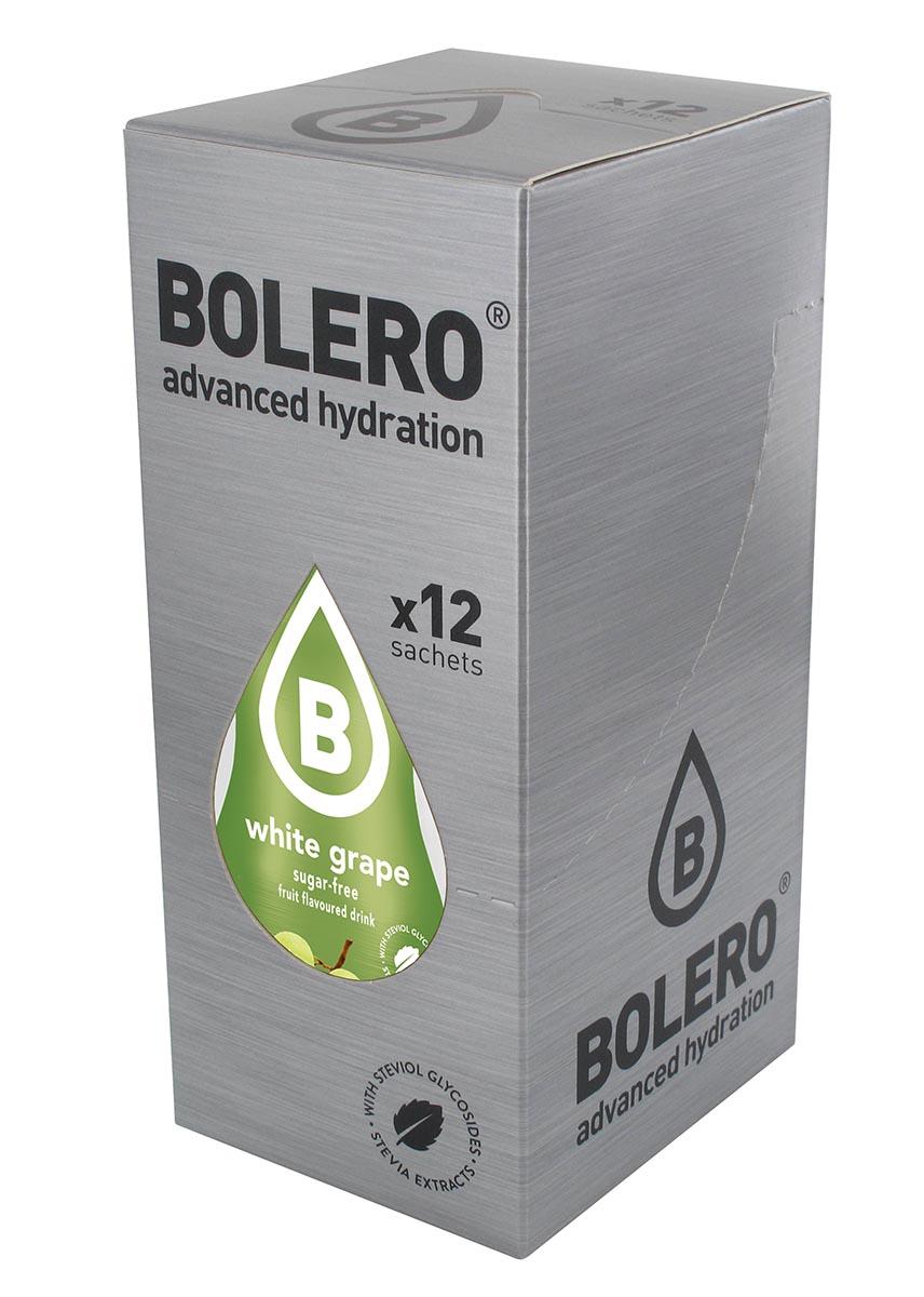 Напиток быстрорастворимый Bolero White Grape / Белый виноград, 9 г х 12 штЦБ-00003139Быстрорастворимый напиток предназначен для спортсменов, в период интенсивных тренировок в дополнение к основному рациону в соответствии с программой, разработанной для данных видов спорта.Каждый пакетик (9 г) рассчитан на приготовление 1,5-2 литра сока. Их также очень удобно носить с собой. Состав: без добавления ГМО. Не содержит глютен, без сахара.-Лимонная кислота, яблочная кислота, мальтодекстрин; - ароматические и вкусовые вещества;- L-аскорбиновая кислота.- натуральные ароматизаторы и подсластители: ацесульфам К, сукралоза,стевиогликозиды (экстракты стевии), регулятор кислотности: тринатрийцитрат.- разрыхлитель: трикальцийфосфат;- загустители: гуаровая камедь, гуммиарабик (аравийская камедь). Товар не является лекарственным средством. Товар не рекомендован для лиц младше 18 лет. Могут быть противопоказания и следует предварительно проконсультироваться со специалистом. Товар сертифицирован.Как повысить эффективность тренировок с помощью спортивного питания? Статья OZON Гид