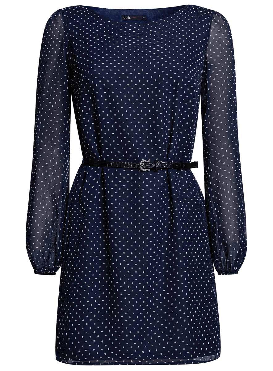 Платье oodji Ultra, цвет: темно-синий, белый. 11900150-5/13632/7912D. Размер 36 (42-170) ремни oodji ремень