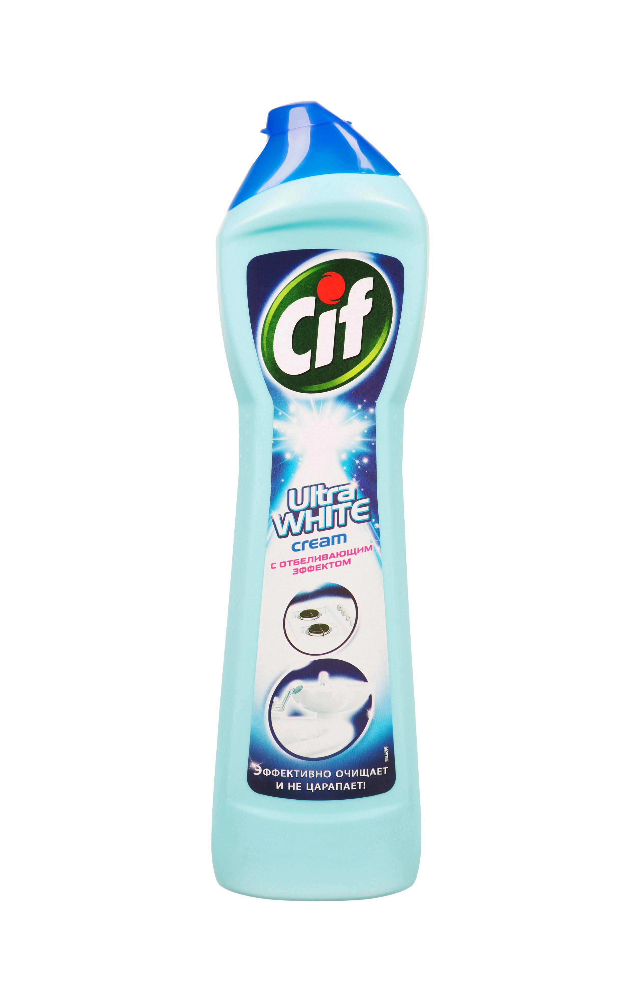 Cif Чистящий крем Ultra White, с отбеливающим эффектом, 500 мл65414441/8747879Чистящий крем Cif Ultra White содержит особые микрогранулы, удаляющие жир вещества и отбеливающий компонент, поэтому обладает тройной силой, позволяющей справиться с самыми сложными и трудновыводимыми загрязнениями даже на современных поверхностях во всем доме. Подходит для очистки поверхностей на кухне, в ванной и туалете. Моющая формула эффективно удалит:- стойкие загрязнения на кухне и в ванной, - ржавчину и известковые отложения, - мыльный налет, - пятна плесени в ванной комнате,- пятна от чая, кофе, вина.Благодаря уникальной формуле крем Cif эффективно справляется даже с сильными загрязнениями, не повреждая поверхность и не оставляя на ней царапин! Все поверхности на кухне и в ванной засияют как новые, крем Cif легко вернет им первоначальную чистоту и сохранит ваше время для более приятных занятий!Состав: менее 5% анионные ПАВ, гипохлорит натрия, неионогенные ПАВ, мыло, отдушка.Товар сертифицирован.Как выбрать качественную бытовую химию, безопасную для природы и людей. Статья OZON Гид