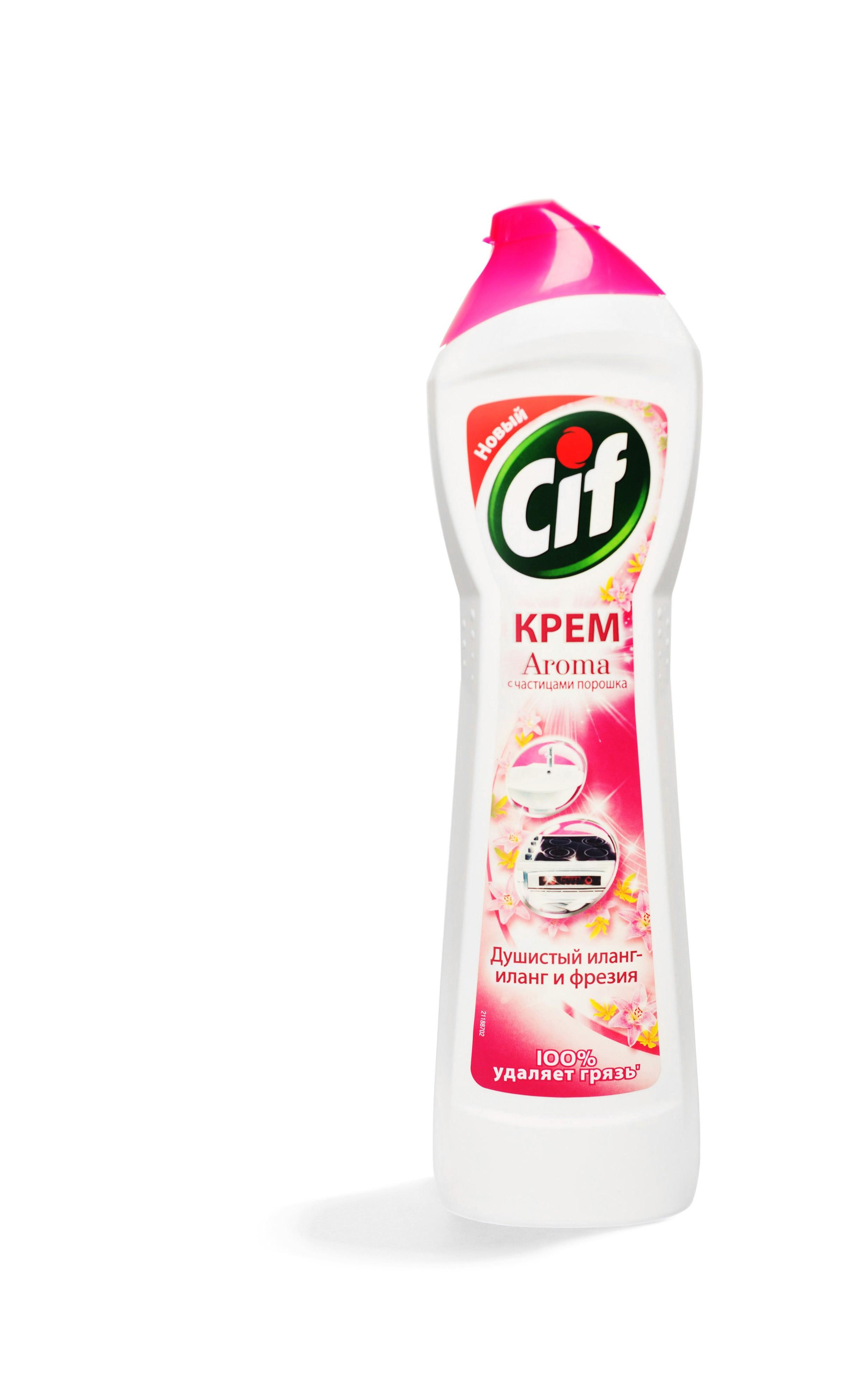 Cif Чистящий крем Розовая свежесть нежный жасмин и фиалка с сикрокристаллами удаляет 100% грязи на кухне и в ванной, оставляя поверхности 100% сияющими и гладкими
