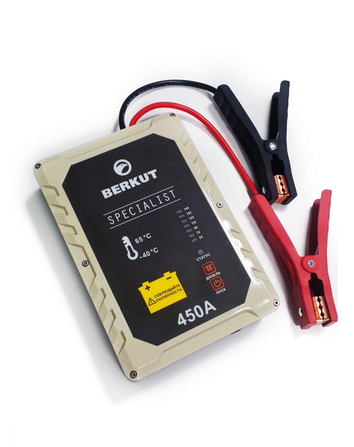 Пуско-зарядное устройство Berkut. JSC450JSC-450Это специальное пусковое автомобильное устройство конденсаторного типа предназначено для аварийного запуска двигателя транспортного средства в случае неисправной АКБ. Главным достоинством устройства, отличающим его от прочих аналогов, является отсутствие аккумуляторов. Вместо них применены электроконденсаторы сверхбольшой емкости (ионисторы). Применение конденсаторного накопителя заряда позволяет гарантированно запустить двигатель автомобиля как с основательно разряженной АКБ, причем даже в том случае, когда ее остаточная емкость составляет всего 5%, так и без аккумулятора с предварительной зарядкой от АКБ или розетки прикуривателя другого автомобиля, а также от зарядного устройства с разъемом микро USB. Пусковое устройство рекомендовано для любых типов транспортных средств с бензиновым двигателем до 4500 см.куб. и дизельным двигателем до 3000 см.куб и напряжением бортовой сети 12В. Технические характеристики:- Напряжение на клеммах: 12 В- Пусковой ток: 450 A- Тип конденсаторов: пусковые, импульсные- Время зарядки от АКБ: до 5 мин- Время зарядки от прикуривателя 12V: 15-20 мин- Время зарядки от Мини USB 5V: 2-3 часа- Количество попыток запуска при полной зарядке: не более одного пуска- Диапазон температур для запуска и хранения: -40 °C +65 °C- Вход Micro USB: 5В (2000 мА)- Вход для зарядки: 12В (10 А) Функциональные особенности:- Не требует подзарядки во время хранения- Готов к использованию вне зависимости от продолжительности хранения- Режим для запуска двигателя автомобиля без аккумулятора- Специальный режим запуска дизеля с предварительным прогревом свечей- Встроенный вольтметр для определения напряжение аккумулятора автомобиля- Отсутствие падение емкости заряда с понижением температур- Нет снижения емкости заряда связанные со старением устройства- Защита от переполюсовки (неправильной полярности)- Защита от короткого замыкания- Цикл заряд/разряд до 10 000 раз- Срок годности - более 10 лет