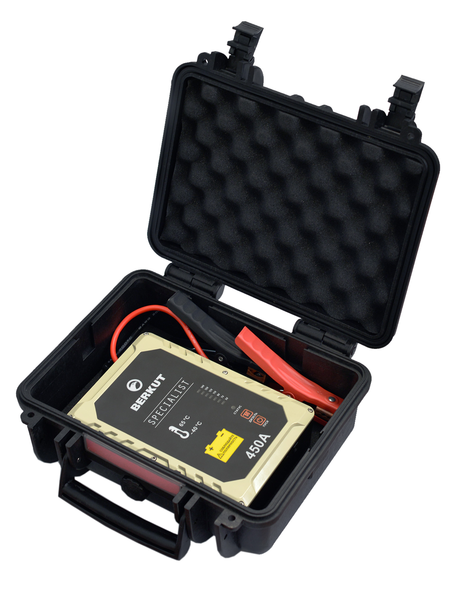 Пуско-зарядное устройство Berkut. JSC450СJSC-450CЭто специальное пусковое автомобильное устройство конденсаторного типа предназначено для аварийного запуска двигателя транспортного средства в случае неисправной АКБ. Главным достоинством устройства, отличающим его от прочих аналогов, является отсутствие аккумуляторов. Вместо них применены электроконденсаторы сверхбольшой емкости (ионисторы). Применение конденсаторного накопителя заряда позволяет гарантированно запустить двигатель автомобиля как с основательно разряженной АКБ, причем даже в том случае, когда ее остаточная емкость составляет всего 5%, так и без аккумулятора с предварительной зарядкой от АКБ или розетки прикуривателя другого автомобиля, а также от зарядного устройства с разъемом микро USB. Пусковое устройство рекомендовано для любых типов транспортных средств с бензиновым двигателем до 4500 см.куб. и дизельным двигателем до 3000 см.куб и напряжением бортовой сети 12В.Технические характеристики: - Напряжение на клеммах: 12 В - Пусковой ток: 450 A - Тип конденсаторов: пусковые, импульсные - Время зарядки от АКБ: до 5 мин - Время зарядки от прикуривателя 12V: 15-20 мин - Время зарядки от Мини USB 5V: 2-3 часа - Количество попыток запуска при полной зарядке: не более одного пуска - Диапазон температур для запуска и хранения: -40 °C +65 °C - Вход Micro USB: 5В (2000 мА) - Вход для зарядки: 12В (10 А) Функциональные особенности: - Не требует подзарядки во время хранения - Готов к использованию вне зависимости от продолжительности хранения - Режим для запуска двигателя автомобиля без аккумулятора - Специальный режим запуска дизеля с предварительным прогревом свечей - Встроенный вольтметр для определения напряжение аккумулятора автомобиля - Отсутствие падение емкости заряда с понижением температур - Нет снижения емкости заряда связанные со старением устройства - Защита от переполюсовки (неправильной полярности) - Защита от короткого замыкания - Цикл заряд/разряд до 10 000 раз - Срок годности - более 10 лет