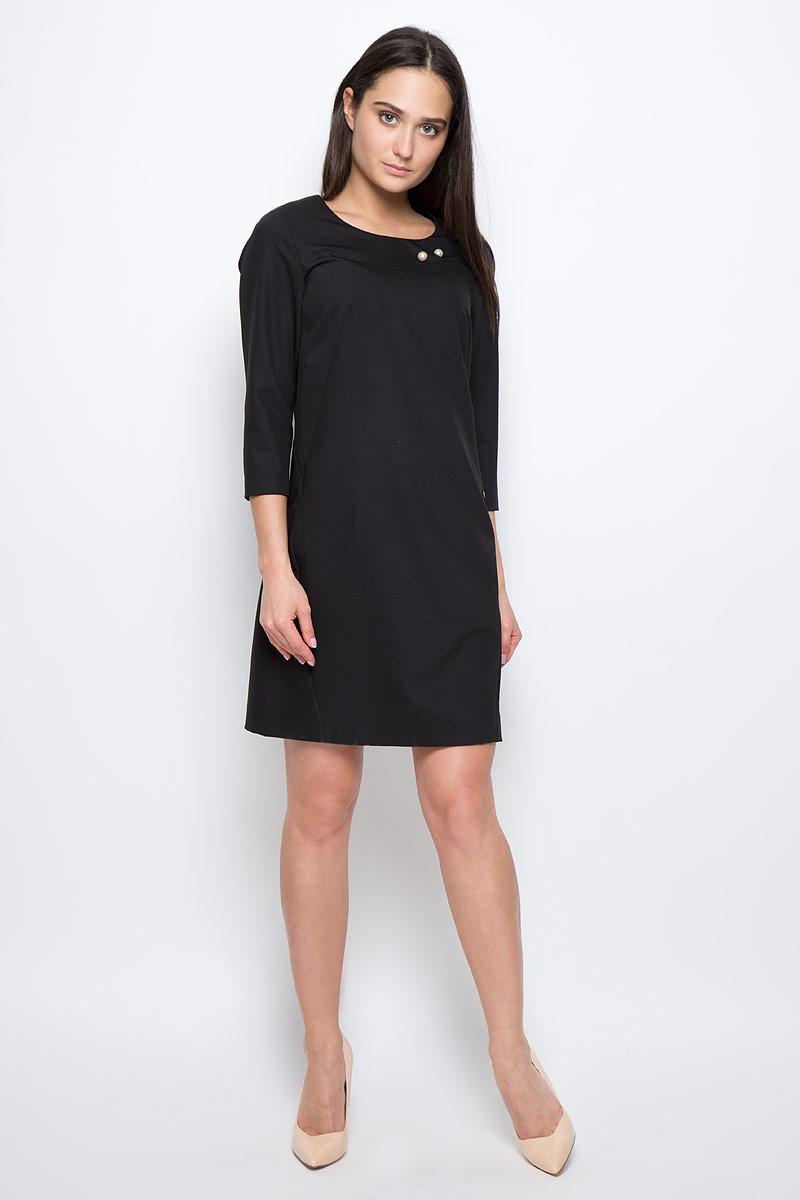 Платье Finn Flare, цвет: черный. B17-11019. Размер L (48) платье finn flare цвет серый синий черный w16 11030 101 размер l 48