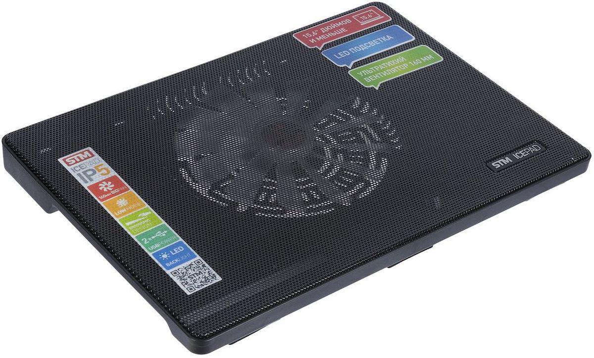 STM IP5, Black, охлаждающая подставка для ноутбукаSTM IP5 blackОхлаждающая подставка STM IP5 с большим вентилятором предназначена для интенсивного охлаждения ноутбука с диагональю экрана до 15,6. Сетчатое верхнее покрытие обеспечивает оптимальный поток воздуха. Питание осуществляется через специальный проходной USB-коннектор. Подставка оснащена LED подсветкой.Скорость вращения вентилятора: 700 об/минЖизненный цикл: 50000 часовВоздушный поток: 32 CFM