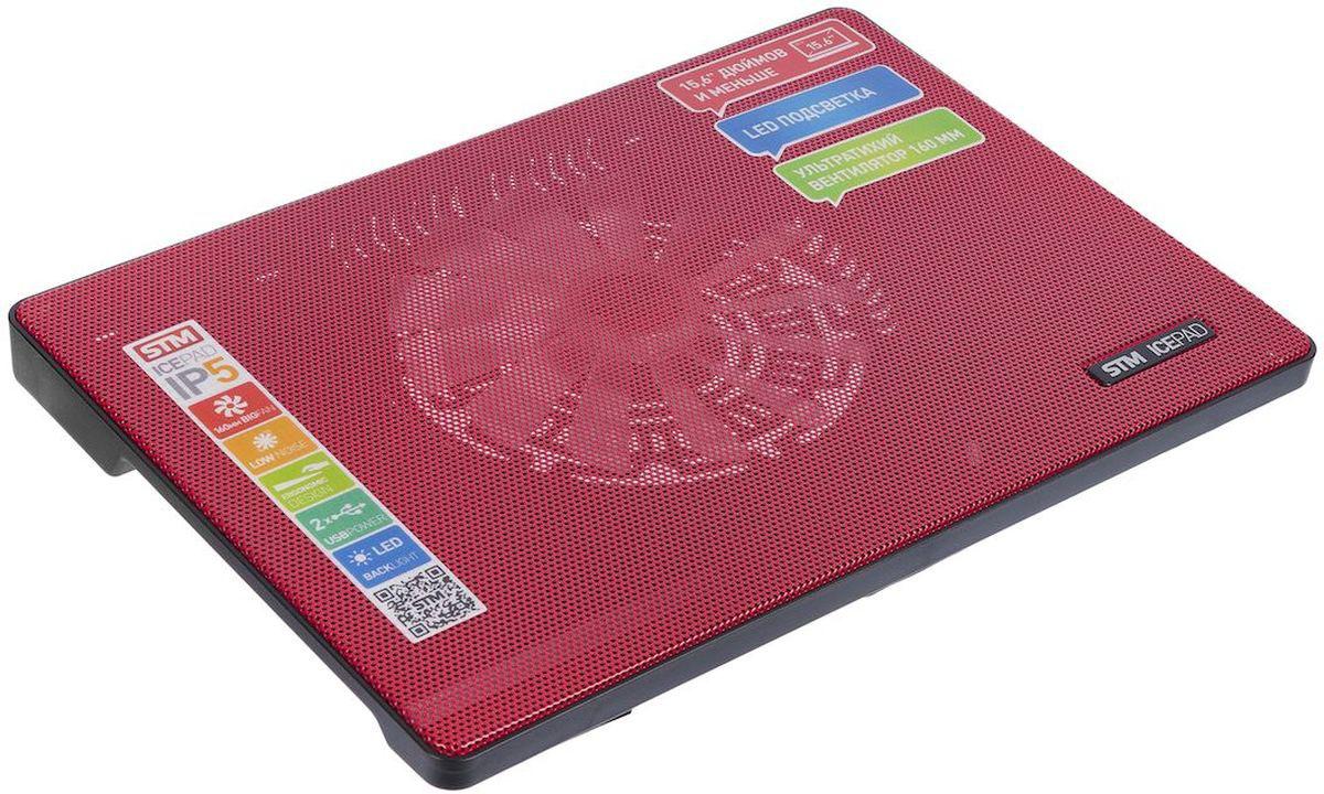 STM IP5, Black Red охлаждающая подставка для ноутбука подставка для ноутбука stm cooling ip5 silver
