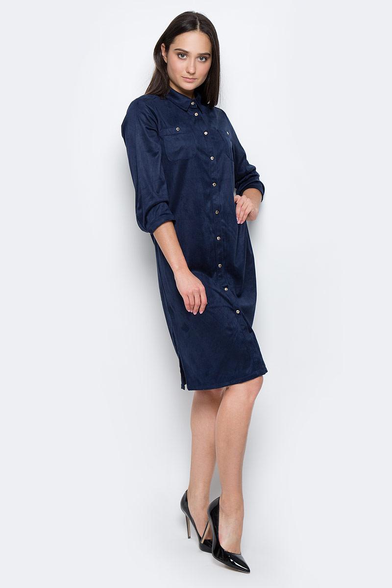 Платье Finn Flare, цвет: темно-синий. B17-11025. Размер L (48) платье finn flare цвет серый синий черный w16 11030 101 размер l 48