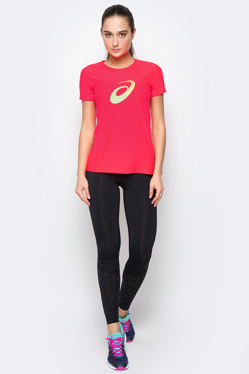 Футболка для бега женская Asics Graphic SS Top, цвет: ярко-розовый. 134105-0688. Размер XS (40/42) футболка для фитнеса женская asics layering top цвет ярко розовый 136042 0688 размер s 42 44