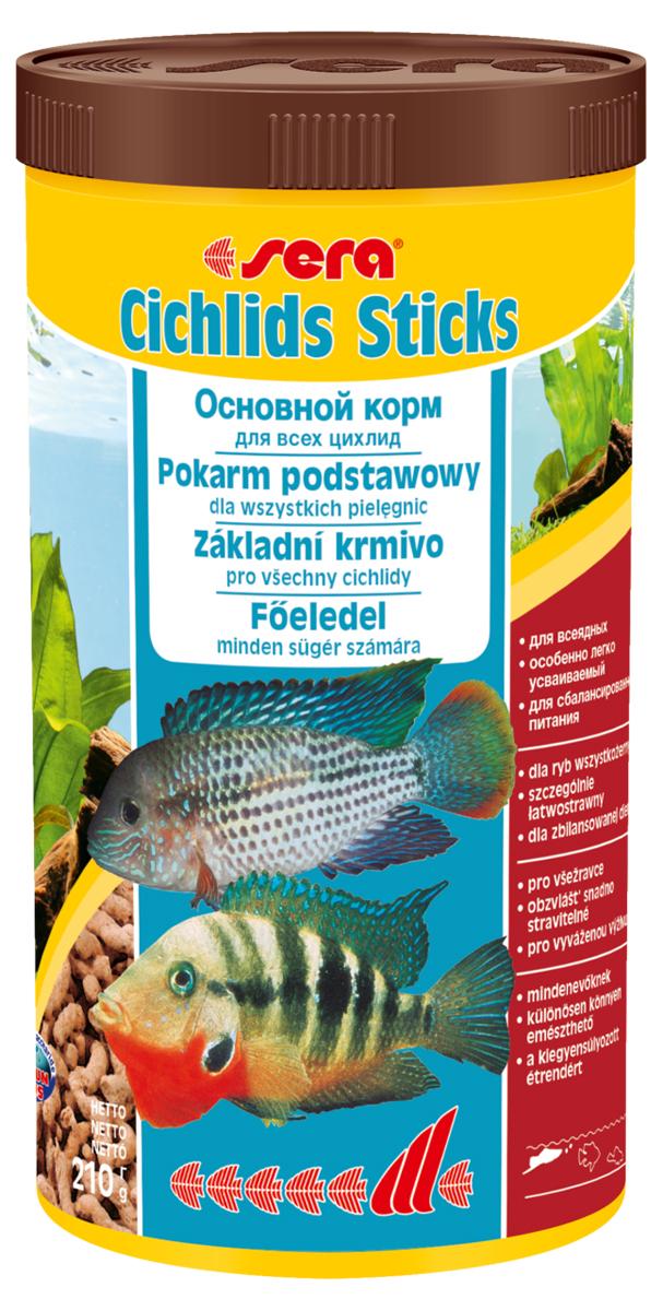 Корм для рыб Sera Cichlids Sticks, 1 л (210 г)0210Корм для рыб Sera Cichlids Sticks предназначен для всех видов цихлид. Корм изготовлен в виде палочек, произведенных путем бережной обработки сырья. Благодаря высокому содержанию ценных белков и входящим в состав зародышам пшеницы, этот сбалансированный корм легко усваивается и особенно привлекателен для рыб. Формула Vital-Immun-Protect гарантирует рыбам прекрасное здоровье, укрепление иммунитета и обилие жизненных сил. Плавающие палочки сохраняют свою форму в воде, не загрязняя ее. Корм не содержит красителей, благодаря чему ни при каких условиях не подкрашивает воду в аквариуме. Инструкция по применению: Кормить один-два раза в день, но только в том количестве, которое рыбы могут съесть в течение короткого периода времени. Ингредиенты: рыбная мука, кукурузный крахмал, пшеничная мука, пшеничная клейковина, пшеничные зародыши (5%), пивные дрожжи, рыбий жир (49% Омега жирных кислот), гаммарус, маннанолиго-сахариды (0,4%), зеленые мидии, водоросль гематококкус, чеснок. Аналитический состав: протеин 41,9%, жиры 6,4%, клетчатка 2,9%, влажность 4,5%, зольные вещества 4,8%.Витамины и провитамины: витамин А 30.000 ME/ кг, витамин D3 1.500 МЕ/кг, витамин Е (D, L-a-tocopheryl acetate) 60 мг/кг, витамин В1 30 мг/кг, витамин В2 90 мг/кг, витамин С (L-ascorbyl monophosphate) 550 мг/кг. Товар сертифицирован.