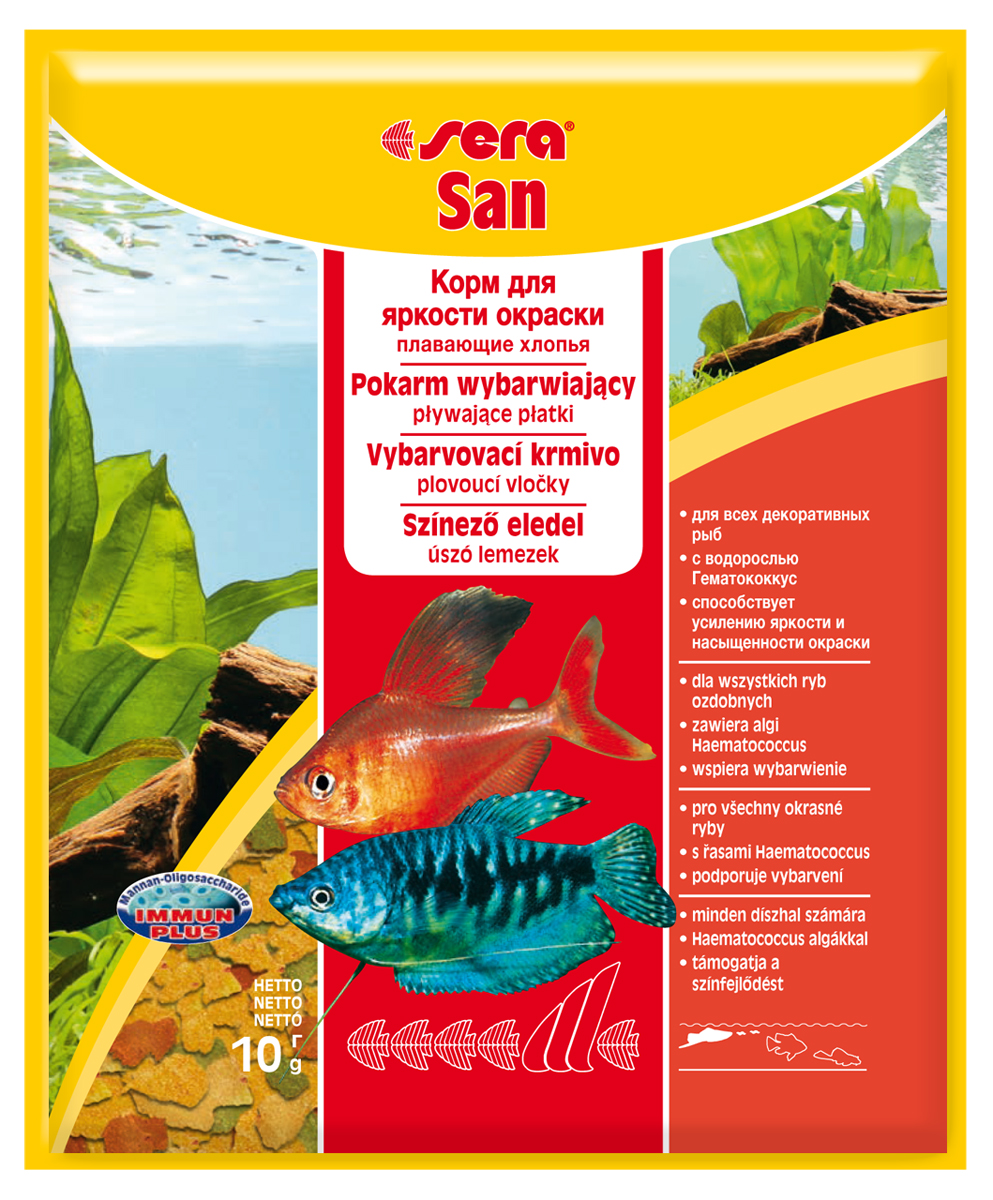 Корм для рыб Sera San, 10 г0242Корм для рыб Sera San - основной корм для всех видов рыб, произведенный в виде хлопьев. Хлопья имеют очень тонкую и пластичную структуру, благодаря чему охотно поедаются даже самыми привередливыми рыбами. Благодаря высокому содержанию каротина и спирулины корм способствует улучшению окраски декоративных рыб. Сбалансированный состав и высокое содержание белков и витаминов позволяет добиться отличного роста у молодых рыб. Полноценный состав из более, чем 40 ингредиентов обеспечивает ежедневные потребности в питательных веществах типичного сообщества рыб. Формула Vital-Immun-Protect гарантирует вашим рыбам прекрасное здоровье, укрепление иммунитета и обилие жизненных сил. Кормить умеренно несколько раз в день в количестве, которое рыбы могут съесть в течение короткого промежутка времени. Ингредиенты: рыбная мука, пшеничная мука, пивные дрожжи, казеинат кальция, гаммарус, яичный порошок, спирулина, масло печени трески, маннанолигосахарид (MOS 0,4%), мука из зеленых губчатых моллюсков, чеснок, зелень, люцерна, крапива, водоросли, зелень петрушки, перец, шпинат, морковь, красители, разрешенные в ЕС. Качественный состав на кг: протеин 48,6%, жир 8,3%, клетчатка 2,9%, зола 11,5%, влажность 5,2%; витамины: А 37000МЕ, В1 35мг, В2 90 мг, С 550 мг, D3 1800МЕ, Е 120 мг. Товар сертифицирован.